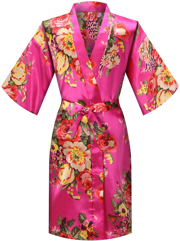 MORFORU Girls Kids Floral Silky Satin Kimono Robe Sleepwear for Wedding Spa Party, Short