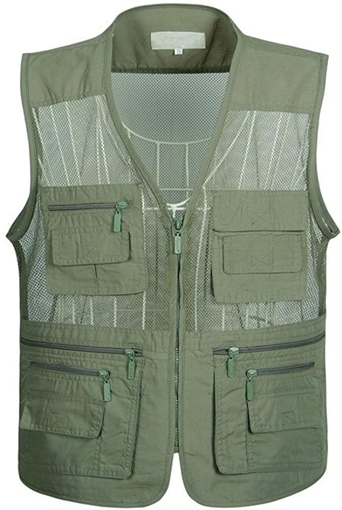 Lanmworn Men Summer Cool Quick-drying Sport Outdoor Mesh Fishing Vest Multi-Pockets Zipper Sleeveless Jacket.