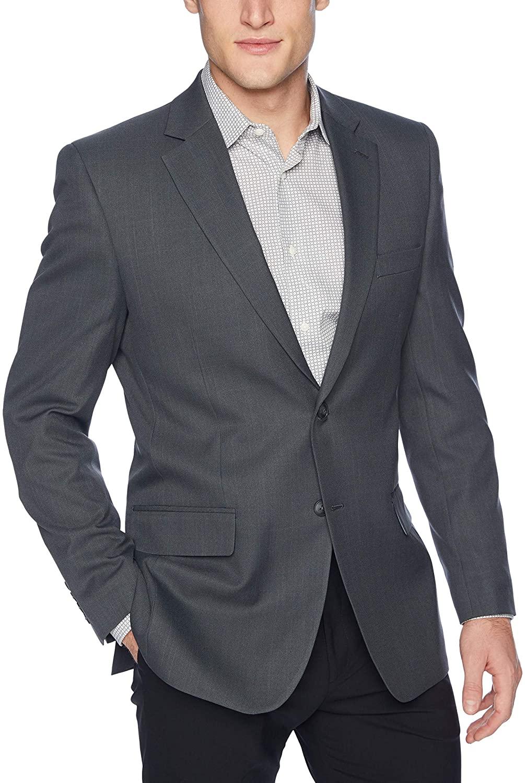 Haggar Men's Travel Performance Stria Tic Tailored Fit Suit Separate Coat, Dark Heather Grey, 38S