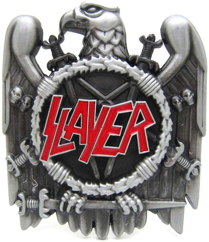Pewter Finish Slayer Heavy Metal Music Belt Buckle Suitable Width 4Cm Belt
