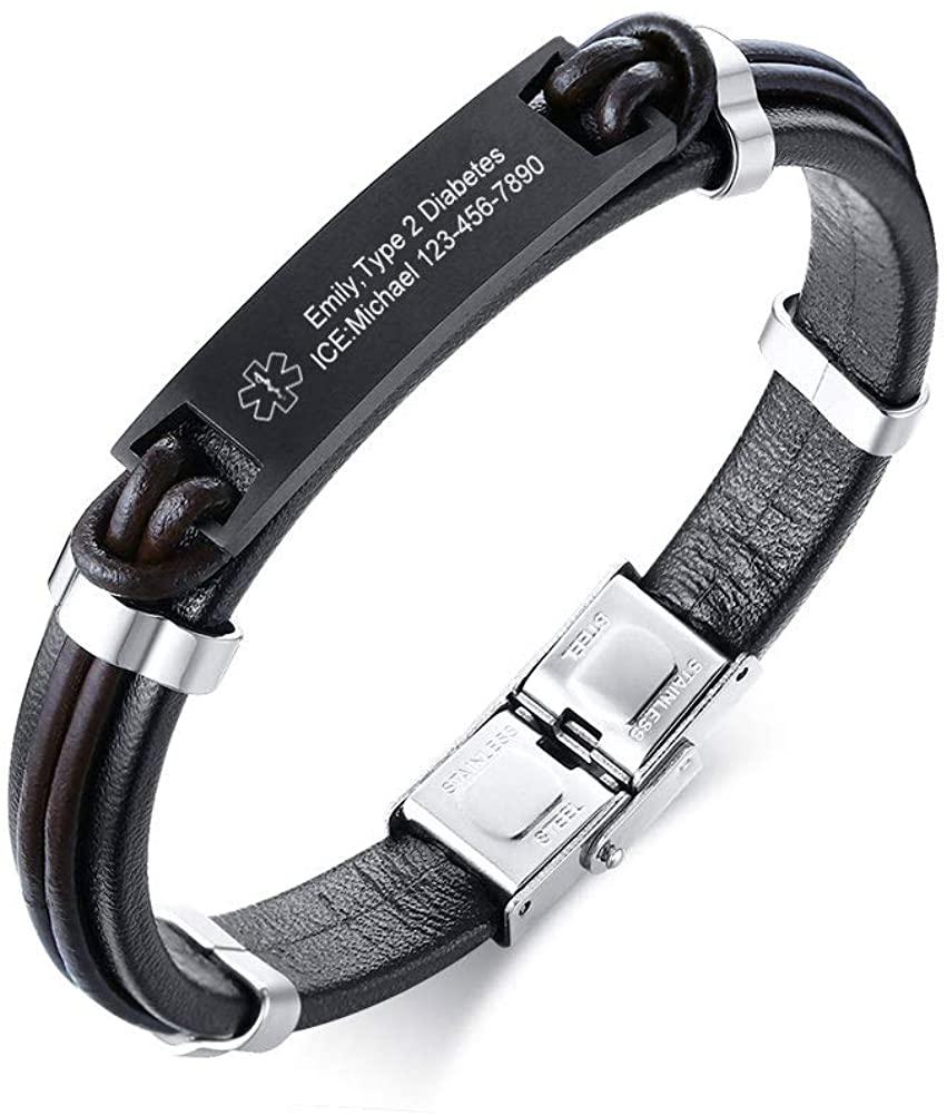 VNOX Custom Engraving Emergency Medical Alert ID Bracelet Leather Medical Symbol Cuff Wristband Bracelet,8.5