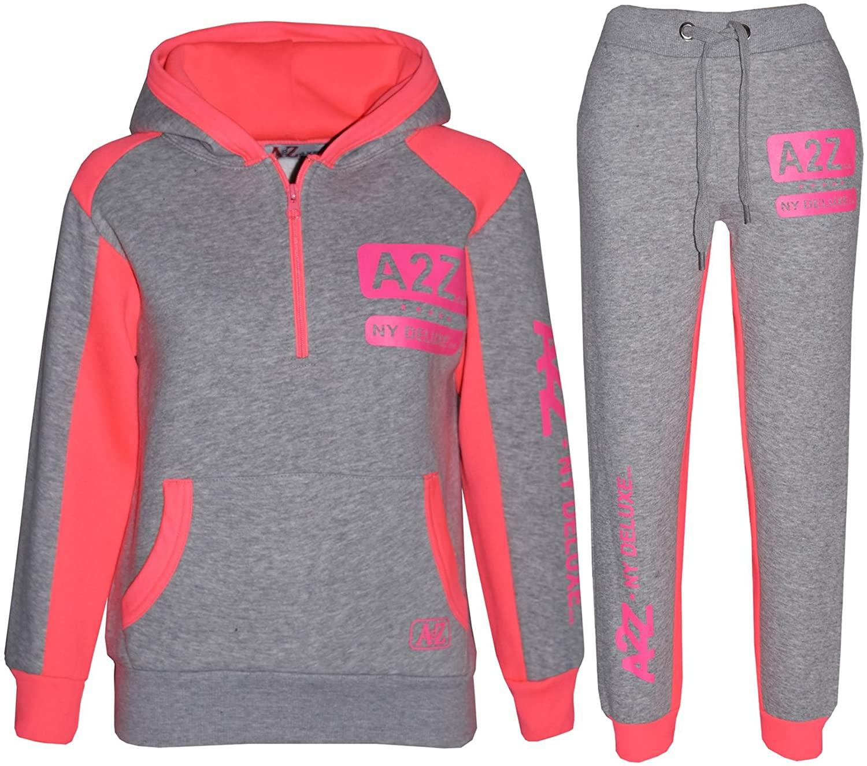 Kids Tracksuit Boys Girls Designer's Zipped Top Bottom Jogging Suit 5-13 Years