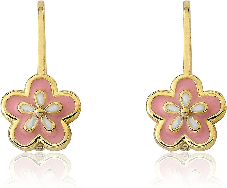 Little Miss Twin Stars Girls Earrings - 14k Gold Pink Enamel Flower Leverback Earring - Hypoallergenic and Nickel Free for Sensitive Ears
