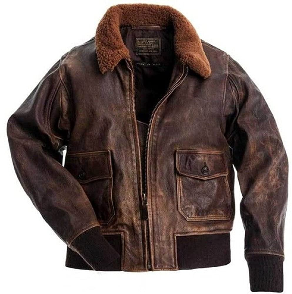Aviator G-1 Men Distressed Real Leather Bomber Flight Jacket