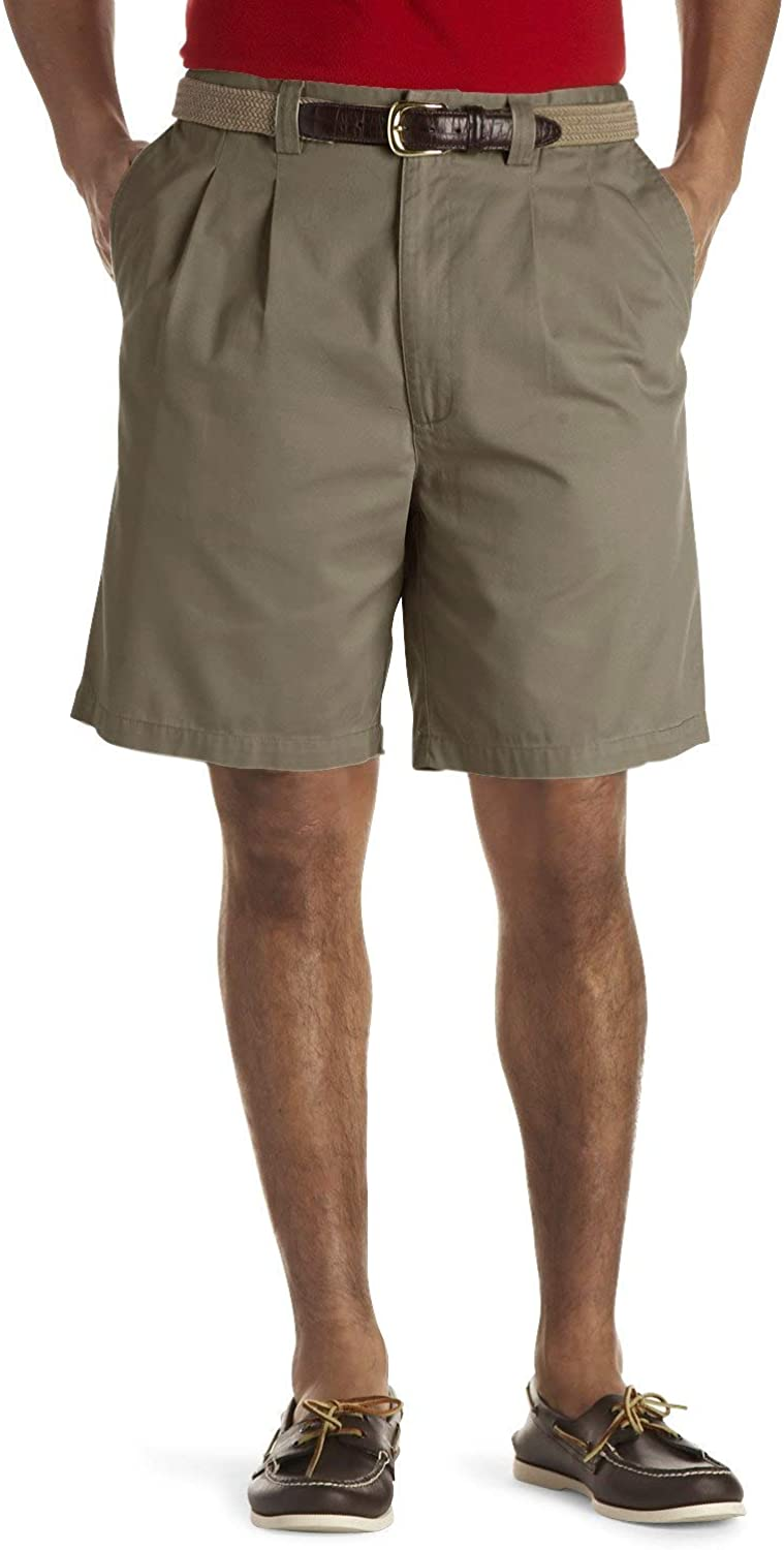Harbor Bay by DXL Big and Tall Waist-Relaxer Pleated Shorts, New Navy