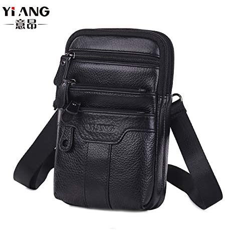 Man's leather Fanny pack (black)