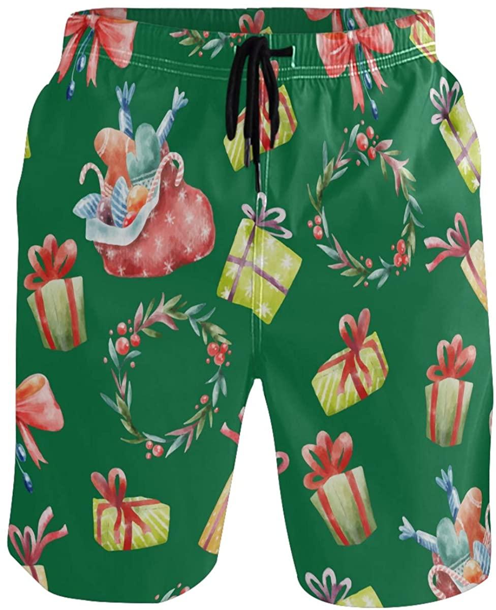 RunningBear Men's Swim Trunks - Christmas Beach Short Men Quick Dry Beach Board Shorts