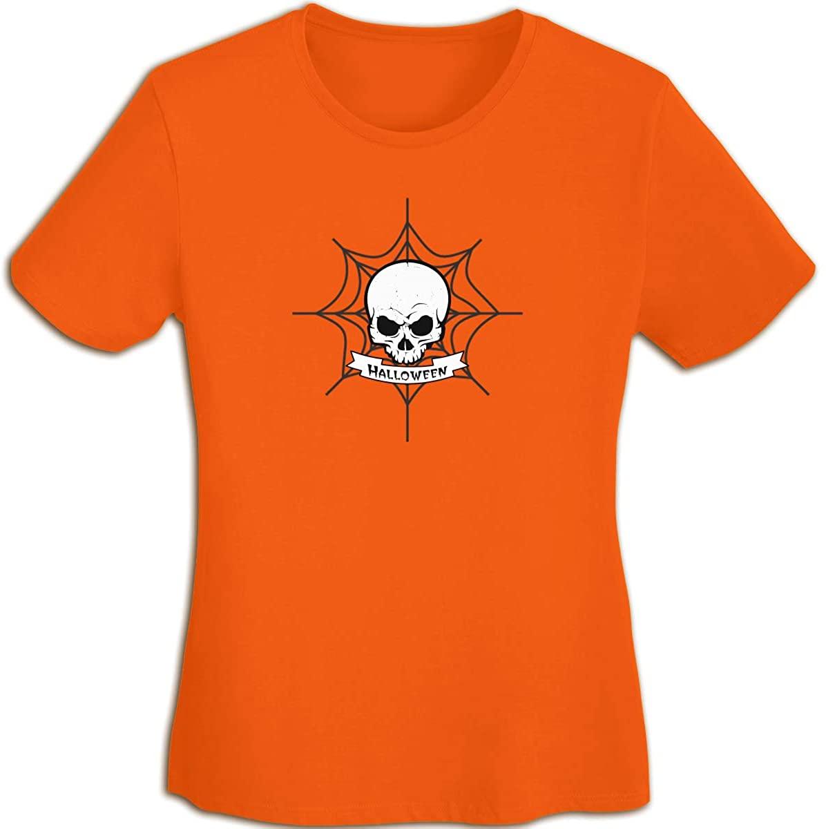 JX-EASY Women's Short Sleeve T-Shirt Crew-Neck Casual Tees Baseball Sports Halloween Big Skull Head Printing Quick-Dry Shorts