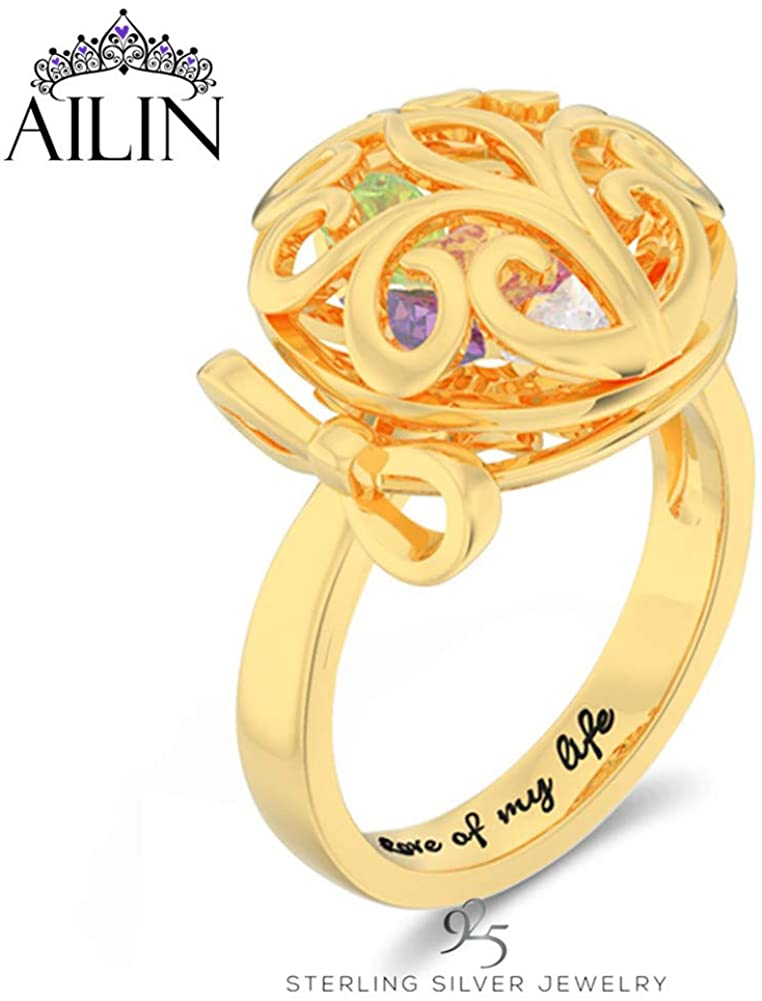AILIN Personalized Family Tree Rings for Mother with Encased Cage Simulated Birthstone Mothers Rings Mother's Day Rings for Mom