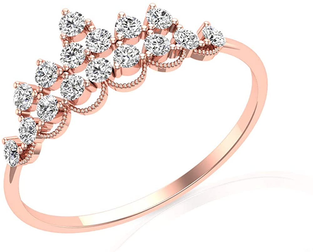 Vintage IJ-SI Diamond Engagement Ring, IGI Certified Round Diamond Cluster Bridal Ring, Unique Tiara Wedding Anniversary Ring Set, Princess Crown Ring, 14K Rose Gold, Size:US 9.5