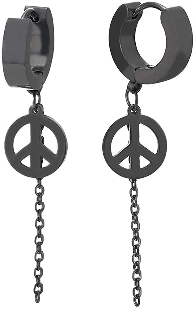 Mens Womens Steel Black Huggie Hinged Hoop Earrings with Dangling Long Chain and Anti-war Peace Sign
