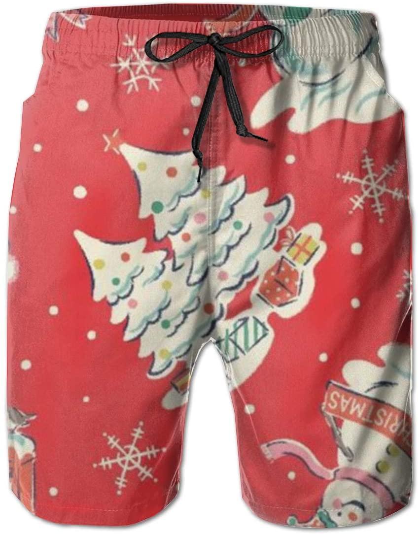 Oiyucv Men's Swim Trunks Snowman Quick Dry Board Shorts Bathing Suits Swimwear Volley Beach Trunks