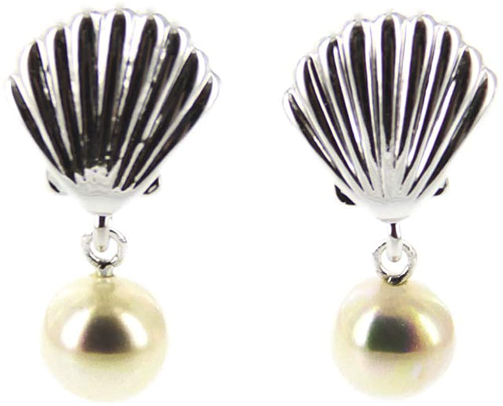 Pura Vida Silver-Plated Pearl and Shell Stud Earrings - Sterling Silver - 1 Pair