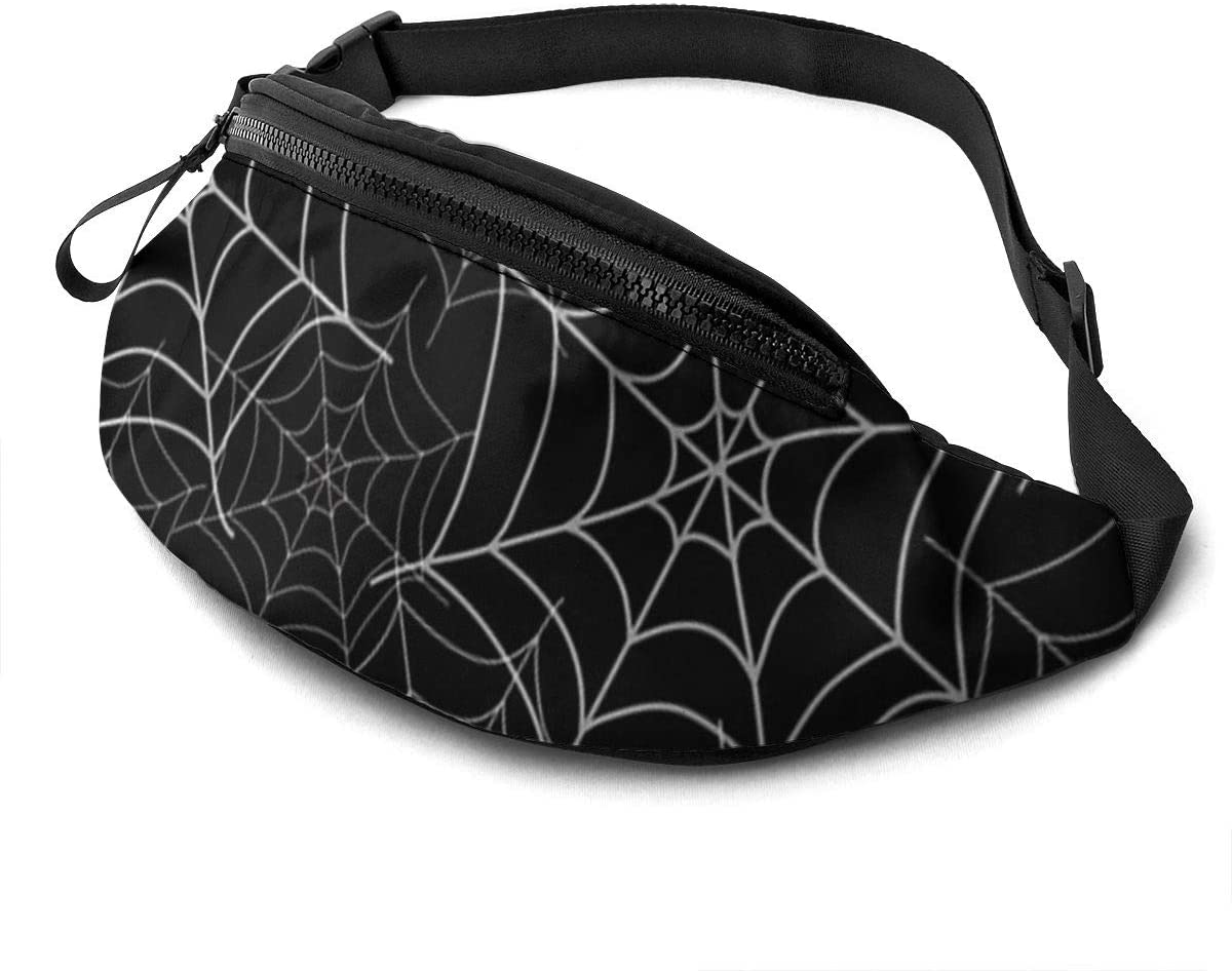 Spider Web Fanny Pack For Men Women Waist Pack Bag With Headphone Jack And Zipper Pockets Adjustable Straps