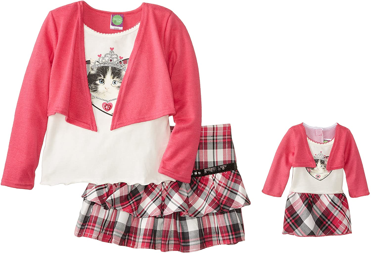 Dollie & Me Little Girls' Top with Open Cardi and Skirt