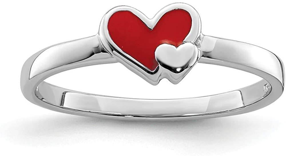 Solid 925 Sterling Silver Childs Enameled Red Heart Ring Band Size 4