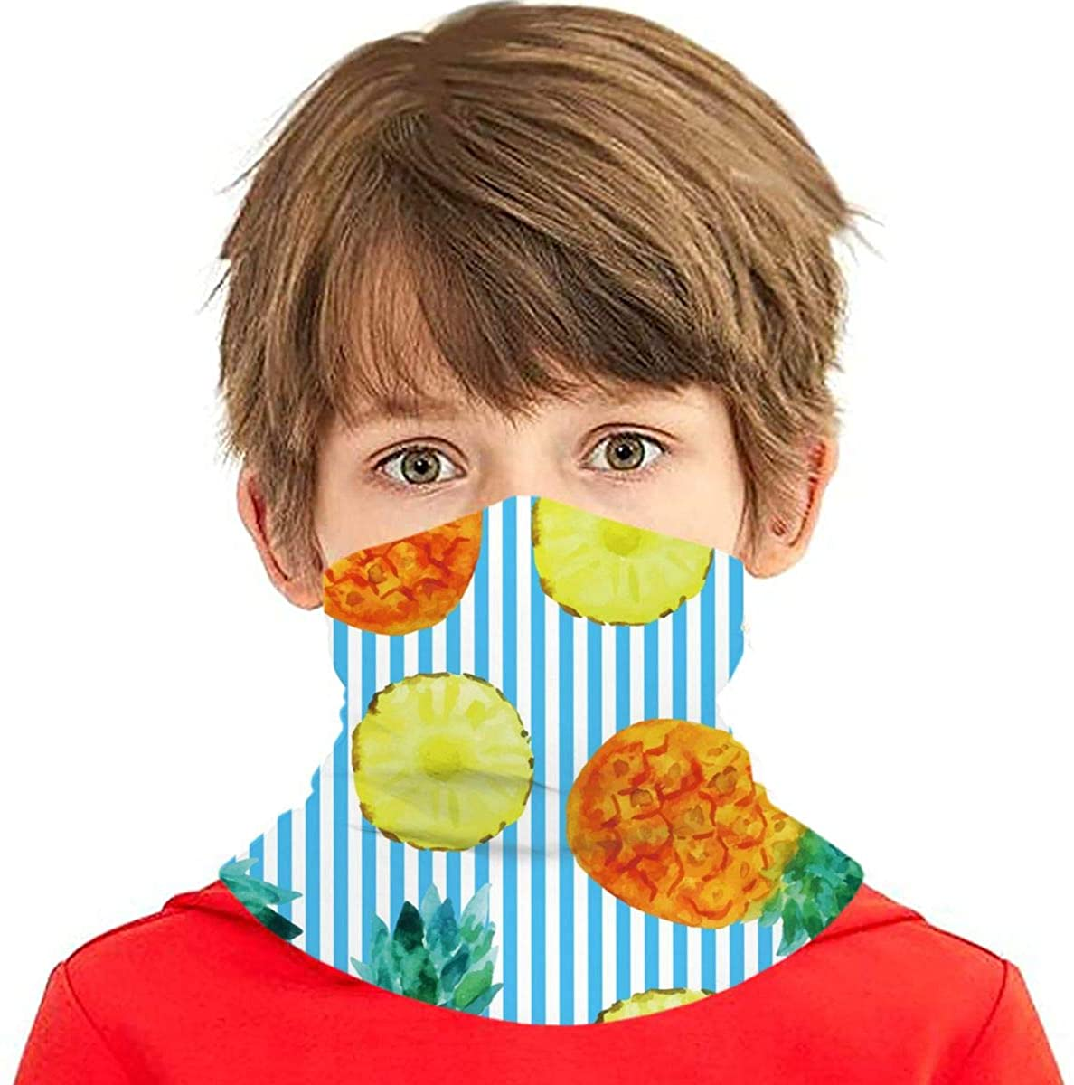 Youth Face Bandanas, Watercolor Pineapple And Blue Stripes Reusable Face Mask Half Face Towel Mouth Cloth Facial Scarf Variety Headscarf