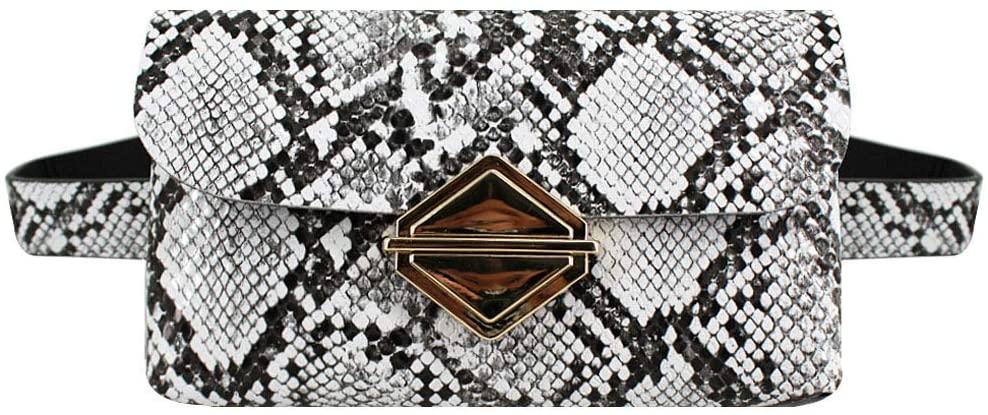 Van Caro Womens Small Snakeskin Fanny Pack Waist Phone Pouch Travel Purse, C-White