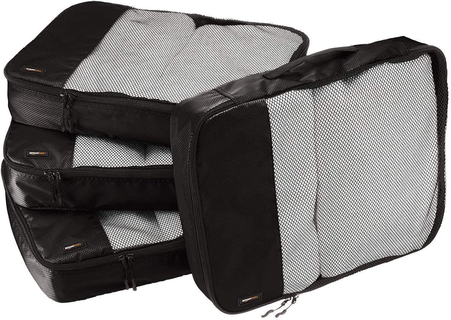 DHgateBasics 4 Piece Packing Travel Organizer Cubes Set - Large, Black