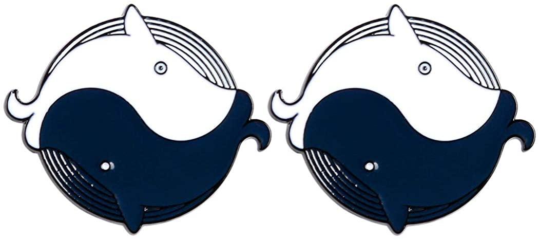 AnaPin Yin Yang Whale Brooch Pin 2 Pcs Tai Chi Whale Enamel Pins Lapel Badges