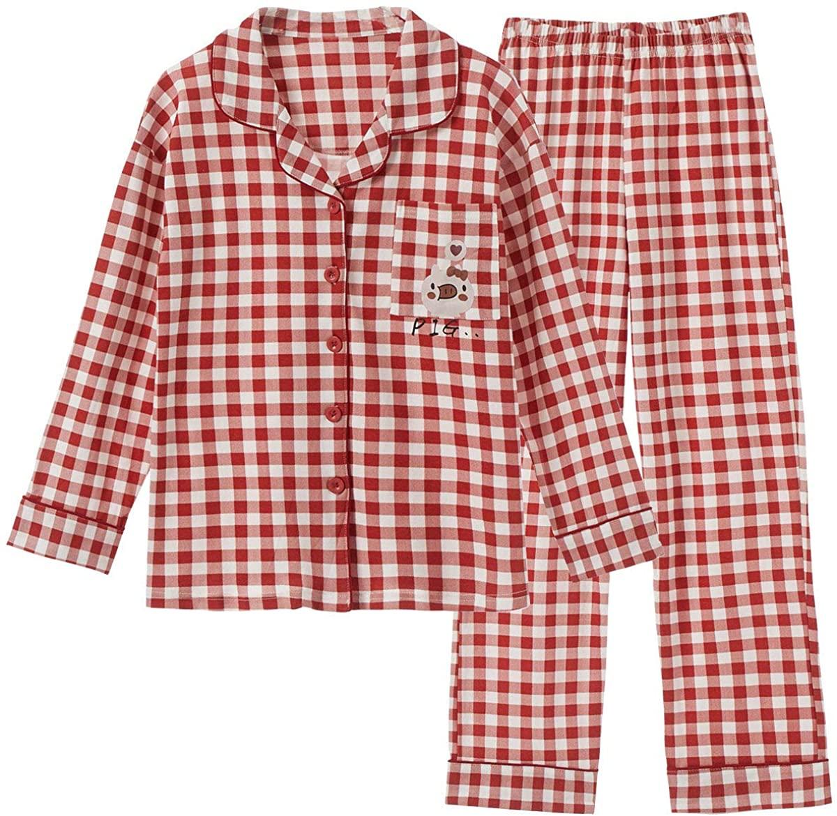 TOP-MAX Girls Pajamas Size 12 14 16 18- Button Down Pjs for Teen Tween Big Girls Cartoon Tops and Long Pants Loungwear …