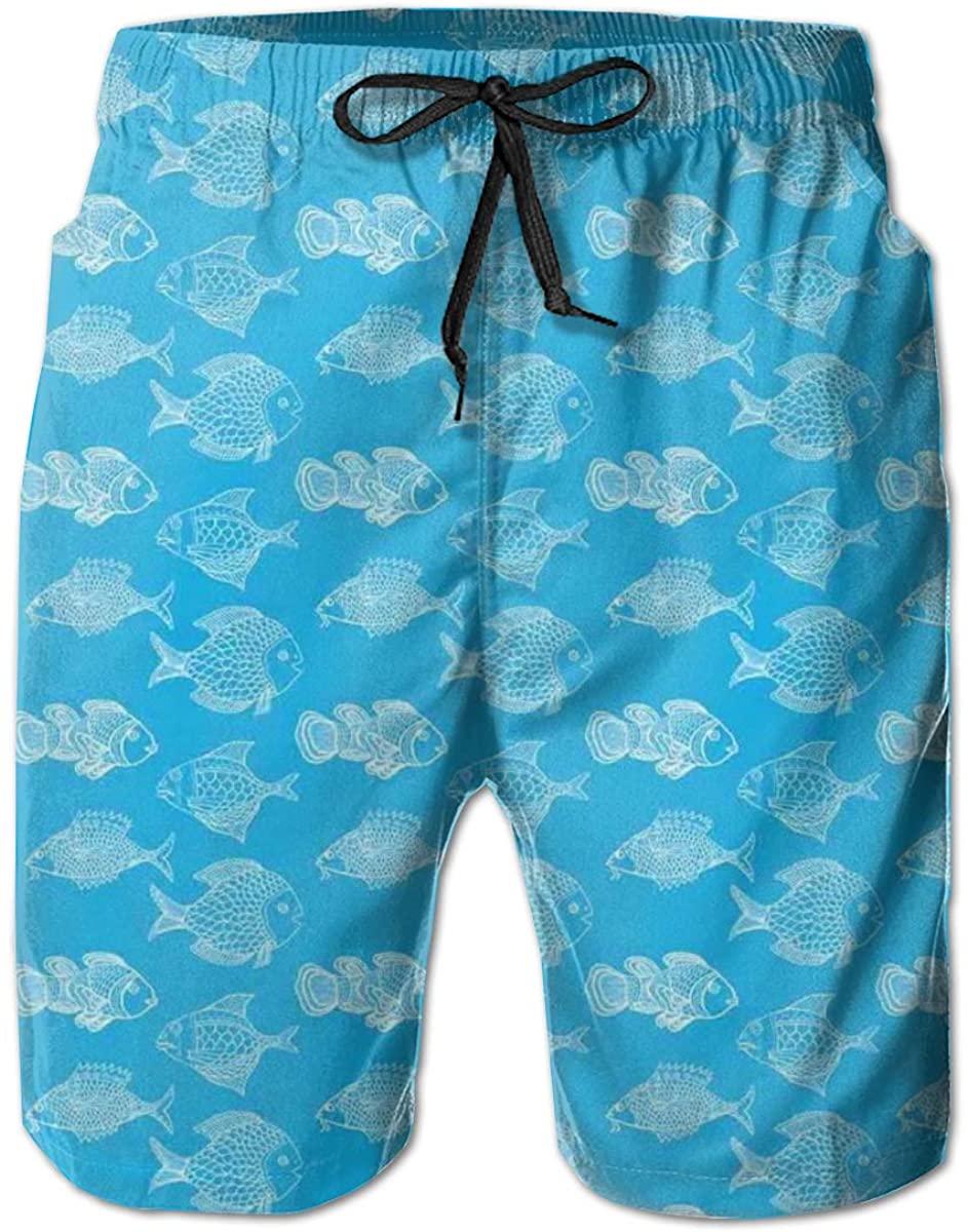 Men's Swim Trunks Quick Dry Beach Shorts Anemonefish Clownfish Hand-Drawn Doodle Sea Ocean Wildlife Theme XXL