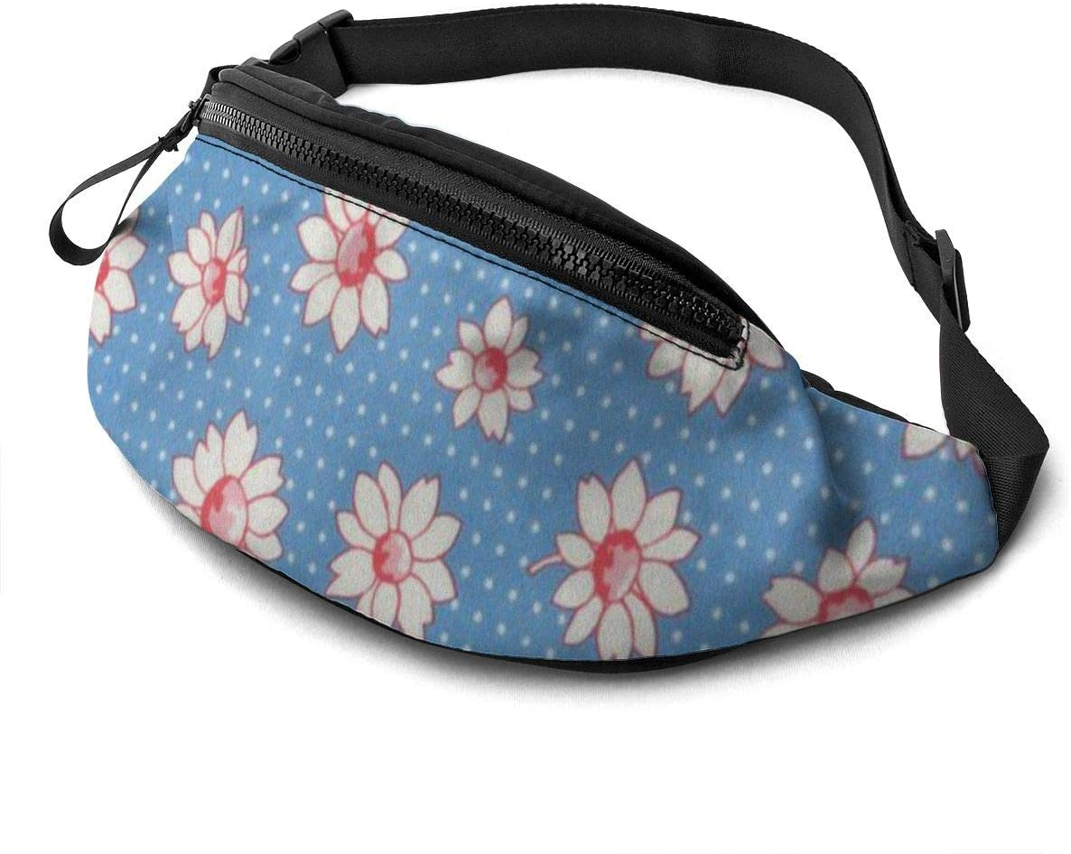 White flowers Fanny Pack for Men Women Waist Pack Bag with Headphone Jack and Zipper Pockets Adjustable Straps
