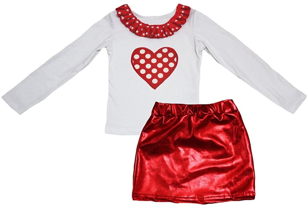Petitebella Polka Dots Heart White Cotton L/s Shirt Red Bling Skirt Set 1-8y