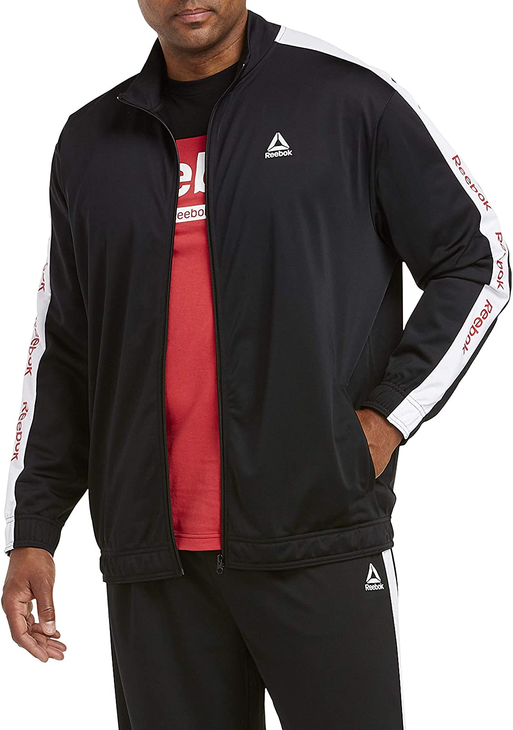 Reebok Big and Tall Taped-Sleeve Performance Track Jacket, Black, 2XL
