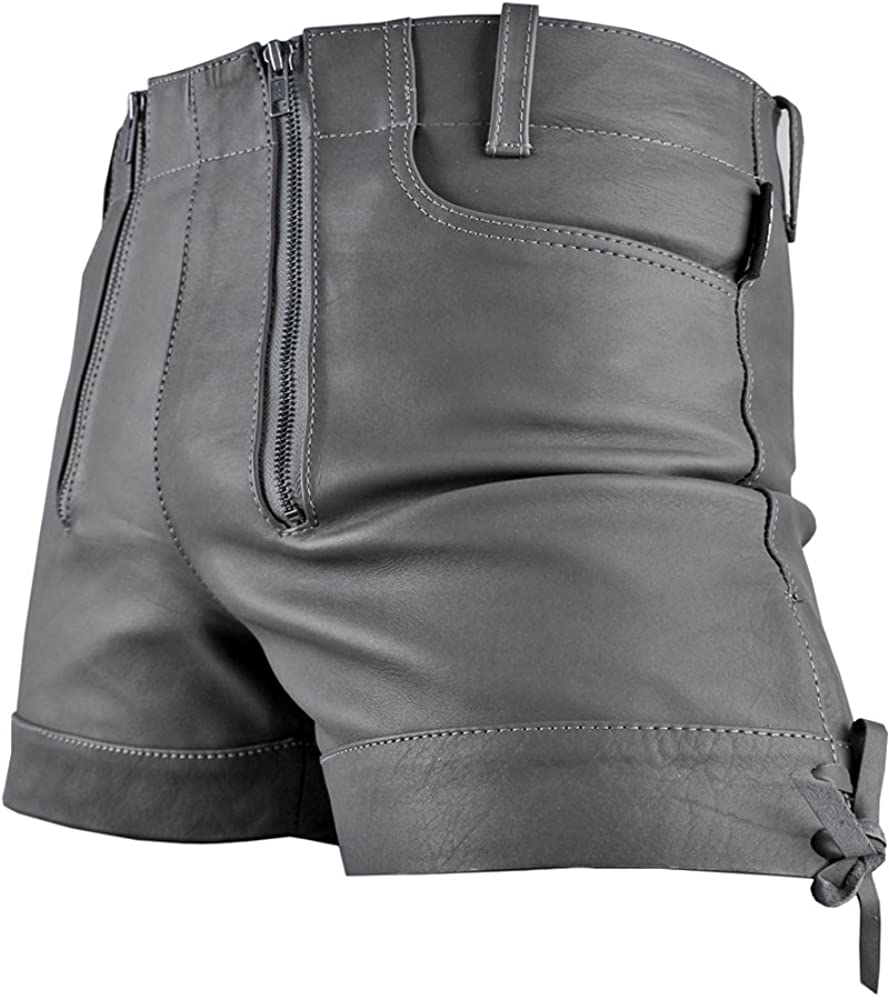Bockle Gray Bavarian Men Leather Shorts Hot Pants Trousers