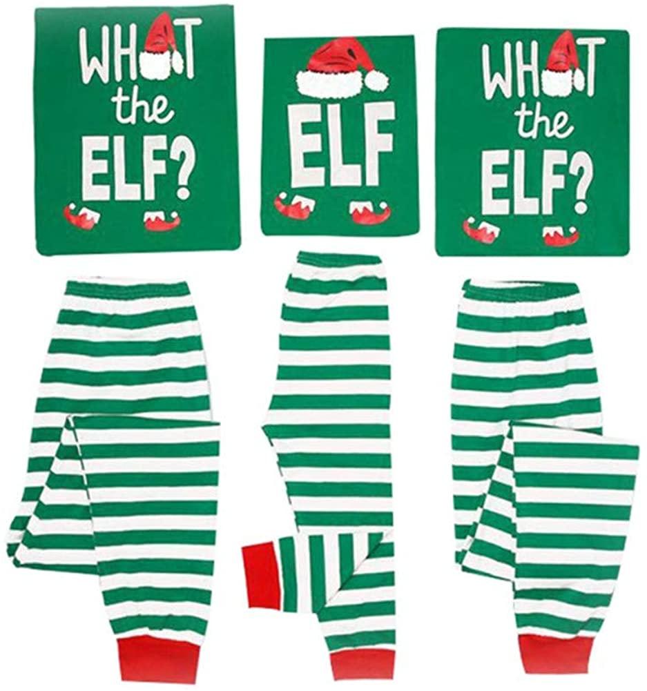 Family Christmas Pajamas Set What The Elf - Long Sleeve Tops Striped Pajamas Pants