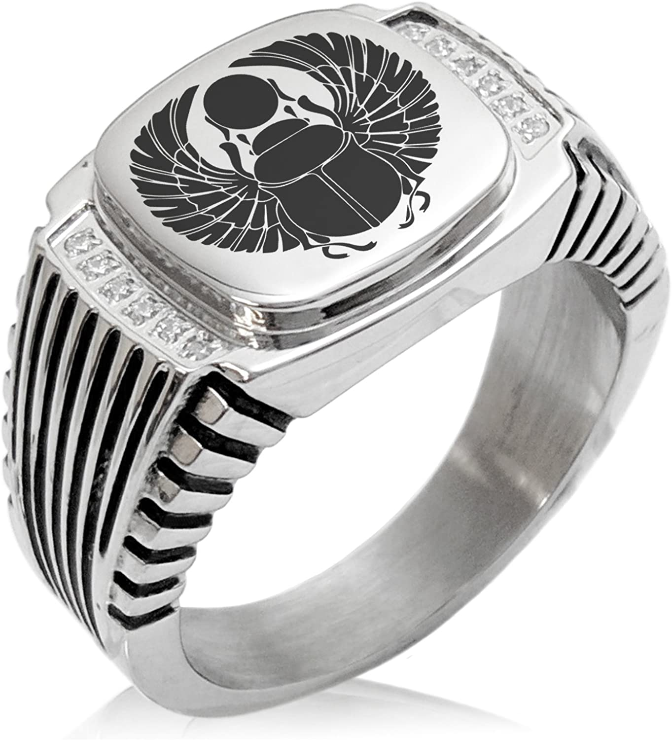 Tioneer Stainless Steel Scarab Beetle Rising Sun CZ Ribbed Needle Stripe Pattern Biker Style Polished Ring
