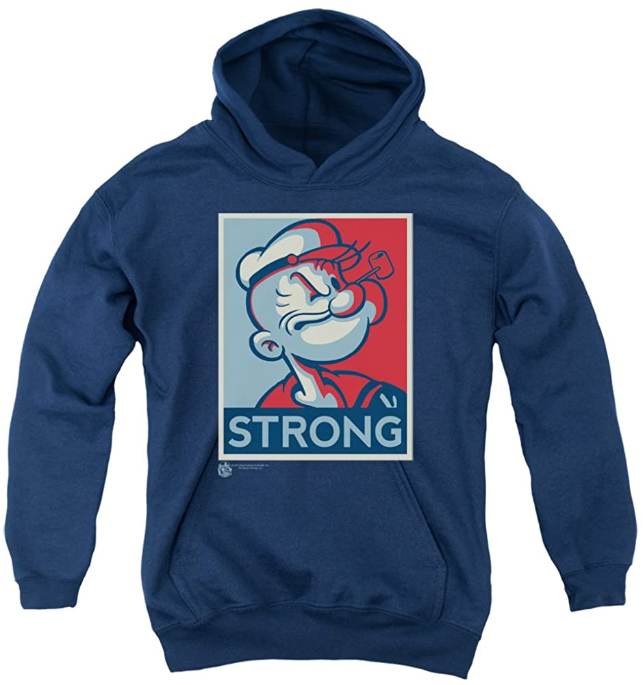 Trevco Popeye Strong Unisex Youth Pull-Over Hoodie for Boys and Girls