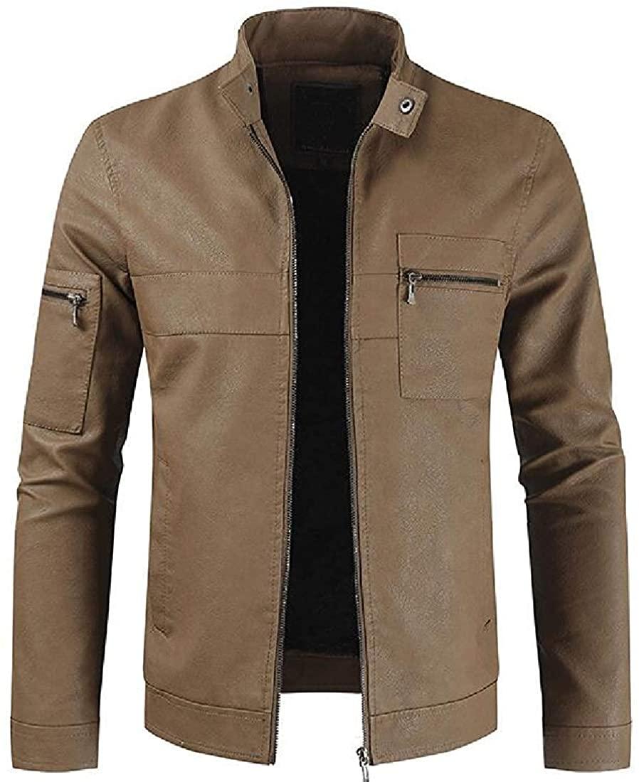 Gsdgjgg Men's Zipper Moto Biker Thicken Faux Pu Leather Lined Fleece Jackets,Coffee,US X-Large