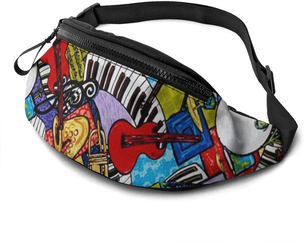 Musical instruments Fanny Pack for Men Women Waist Pack Bag with Headphone Jack and Zipper Pockets Adjustable Straps
