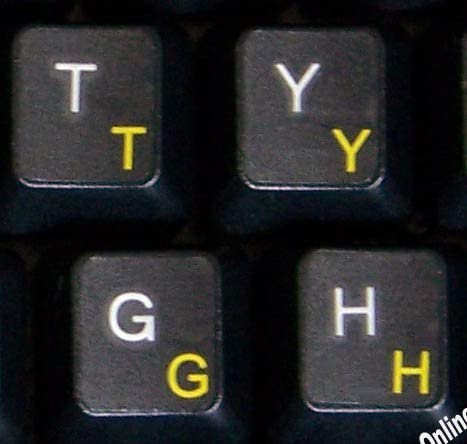 Danish Keyboard Label with Yellow Lettering Transparent for Computer LAPTOPS Desktop