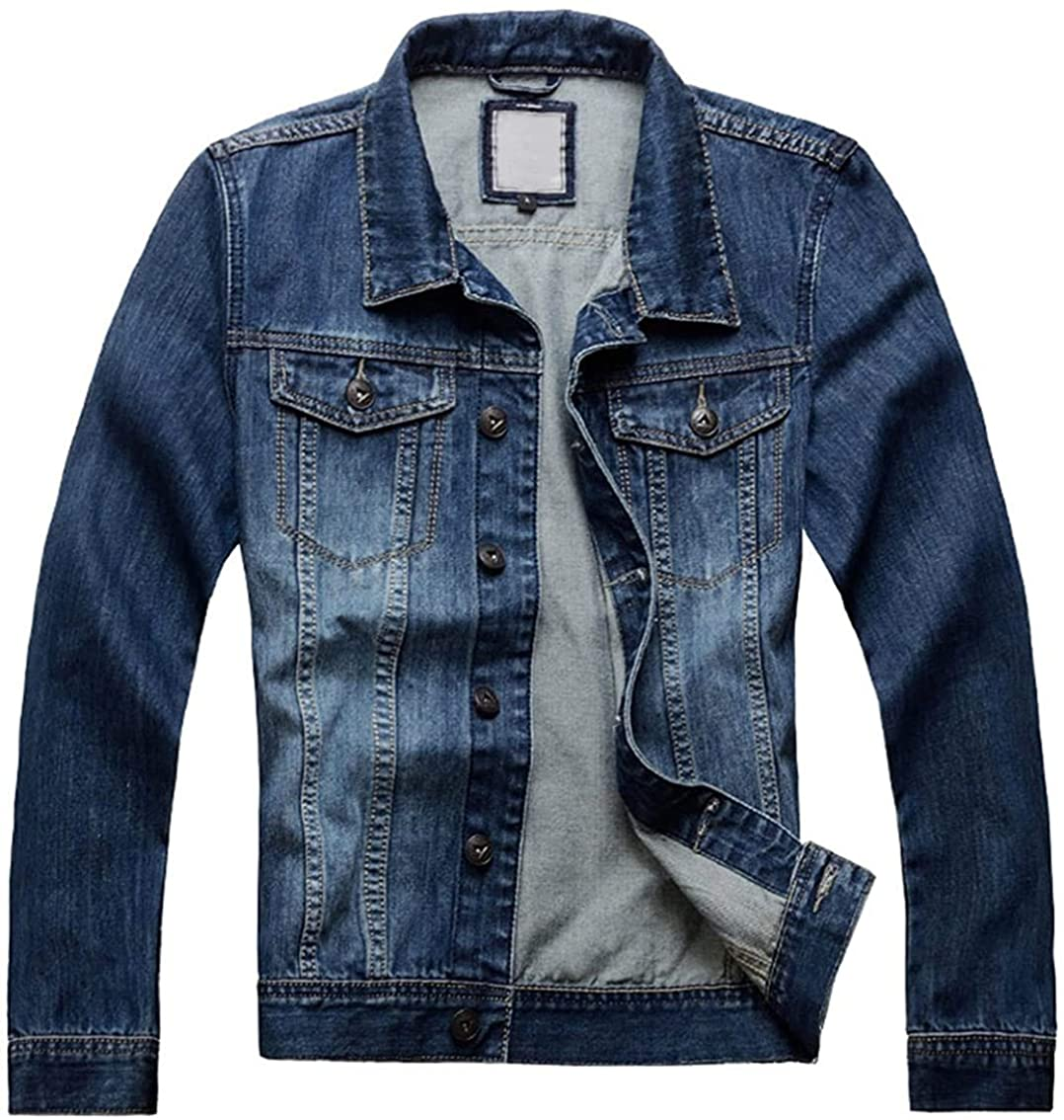Men's Classic Collared Button Front Rugged Wear Unlined Denim Jacket