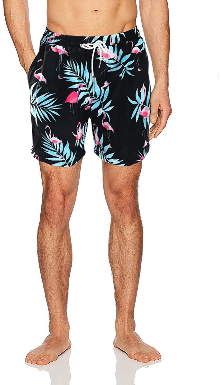 Bailunmuzi Men's Quick Dry Waterproof Boardshorts Printed Mesh Liner Swim Trunks with Drawstring