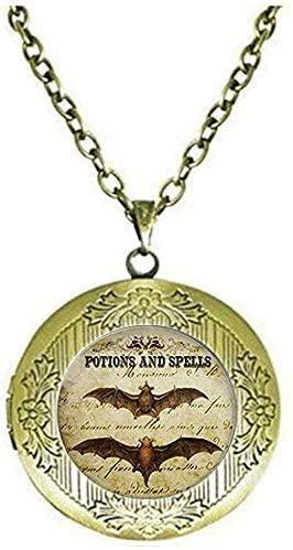 Bat Wing Potion Halloween Jewelry Charm Halloween Bat Locket Necklace Art Picture Jewelry