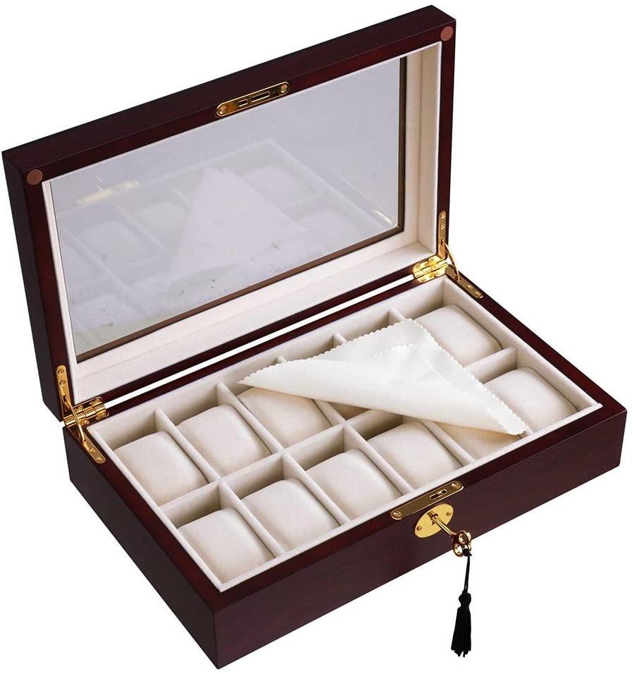 Yescom 12 Slots Wooden Watch Display Case Glass Top Jewelry Collection Storage Box Organizer Men/Women Cherry Wood