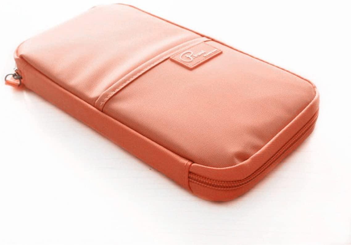 Hiibaby Multi-function Travel Passport Credit Id Card Cash Holder Organizer Wallet Purse Case Bag Water-proof Material Large Capacity For Men Women (Orange)