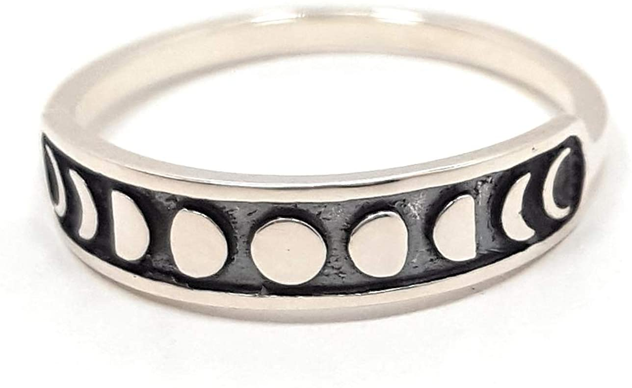 This Life Jewelry Moon Phase Ring - 925 Sterling Silver - Celestial Full Half Crescent Moons