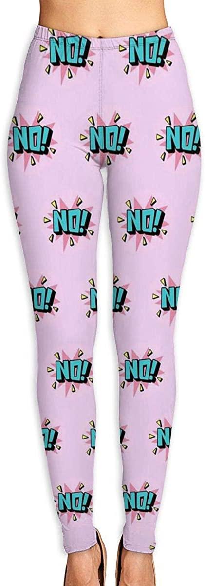 Apuiutw NO Women Funny Print Yoga Leggings Pants Workout Fitness Pants Sports Gym Yoga Quick Dry Capri Leggings
