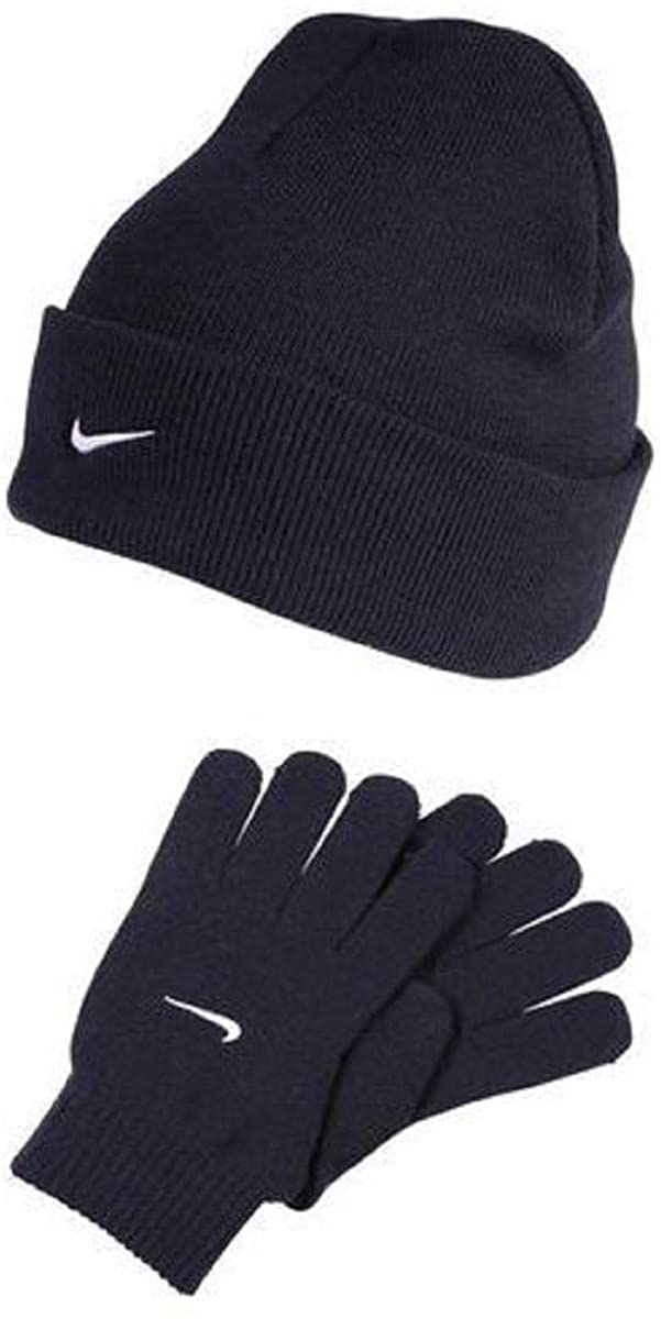 NIKE Cuffed Ribbed Soft Knit Beanie Gloves Set Warm Winter Weather Gear (Wolf Grey Embroidered White Swoosh Logos) YOUTH 8-20
