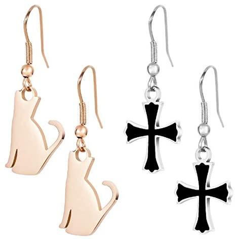 Christmas Gift for Women Girls 18K Rose Gold Plated Cat Stainless Steel Cross Earrings for Her Daughter Teen Christmas Gift Daily Wear