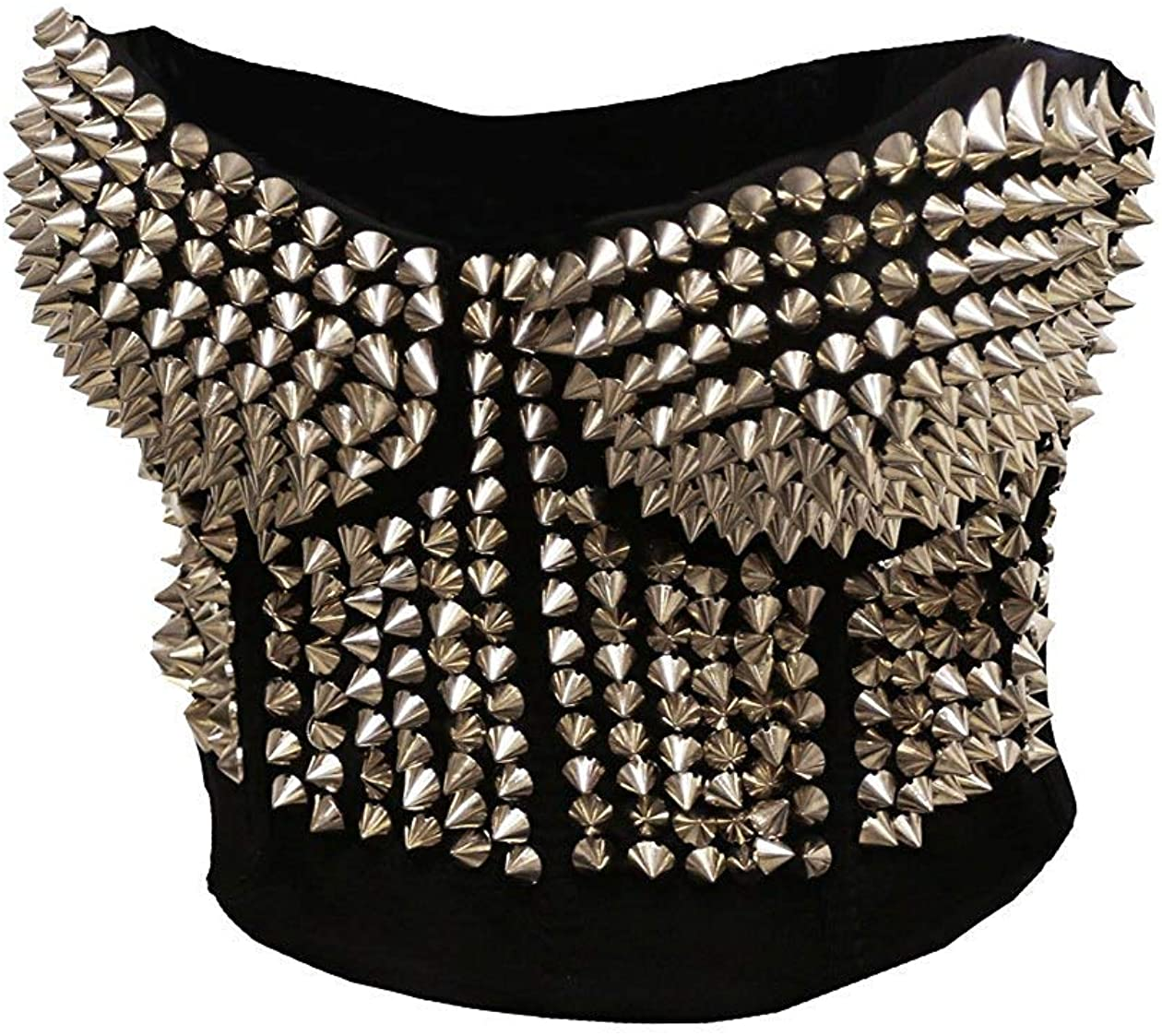 Coolweary Women's&Lady's Fashion Madonna Style Metallic Studs Bustier Sport Bra Studded Rivet Corset Top