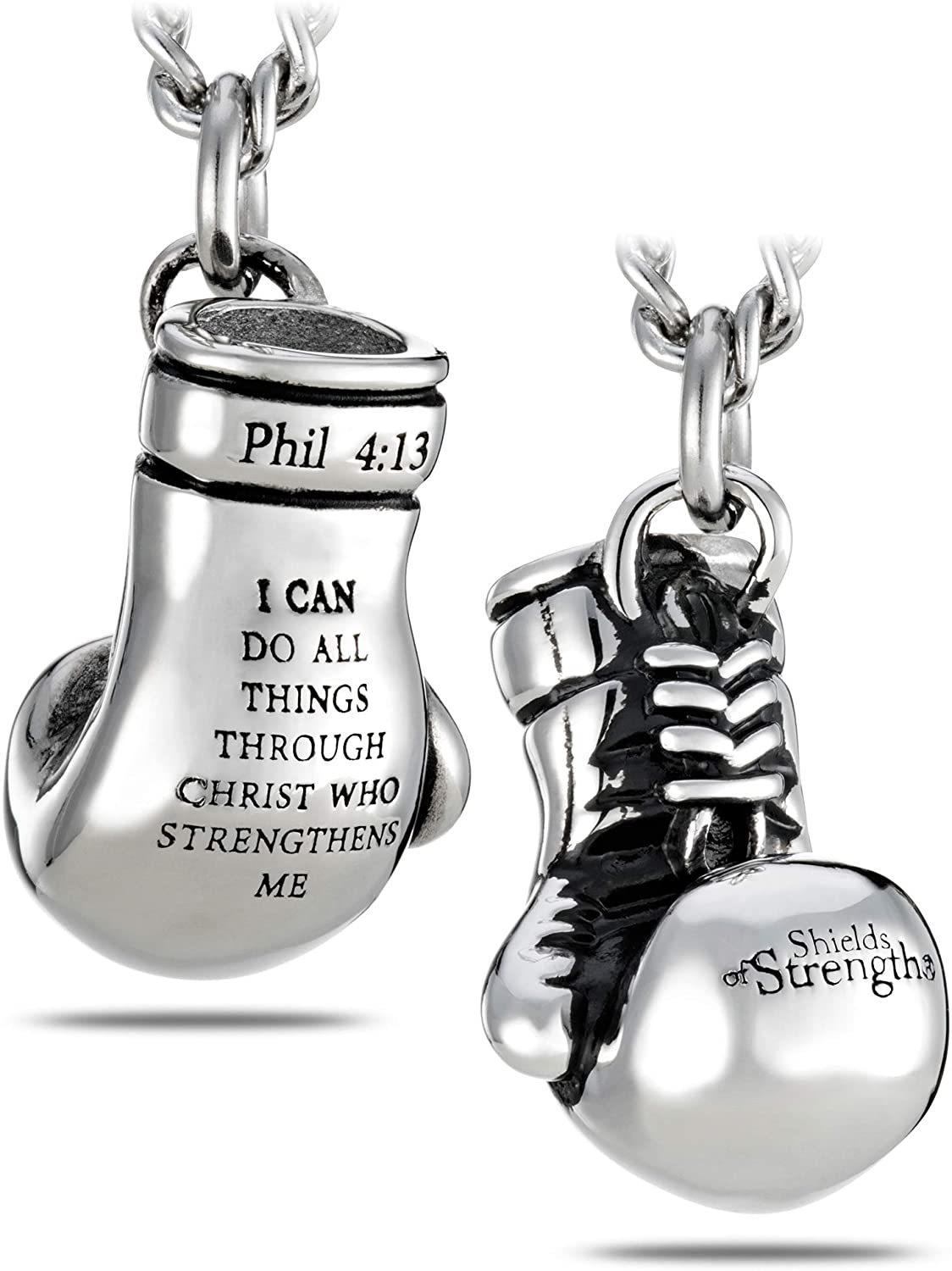 Men's Stainless Steel Boxing Glove Necklace-Phil 4:13
