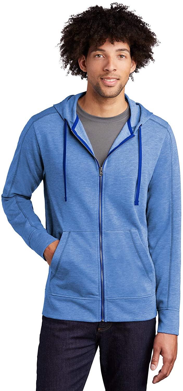 Sport-Tek PosiCharge Tri-Blend Wicking Fleece Full-Zip Hooded Jacket, True Royal Heather, XXX-Large