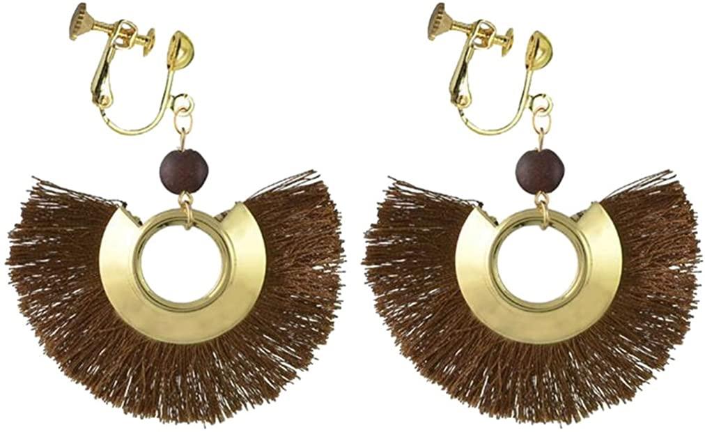 Sweet Clip on Earrings Bohemian Fringe Resin Bead Fabric Thread for Girls Women Brown