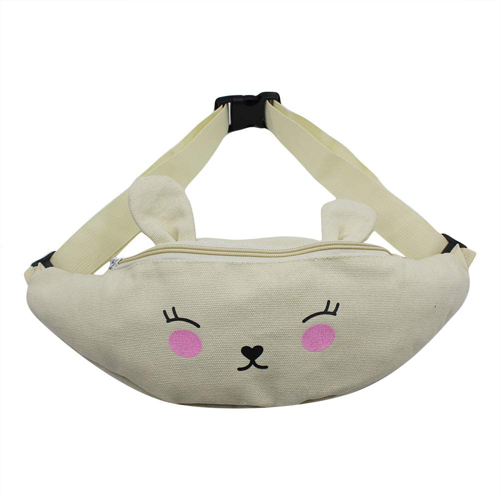 Little Girls Canvas Cute Rabbit Hipsack Waist Pack Small Fanny Pack Phone Wallet Purse with Adjustable Strap for Sport Camping Running Travel